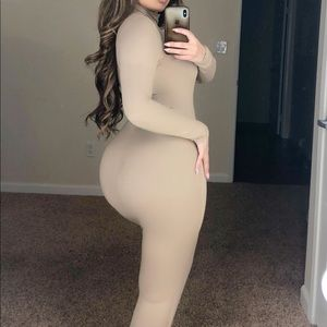 Nude long fitted turtle neck dress